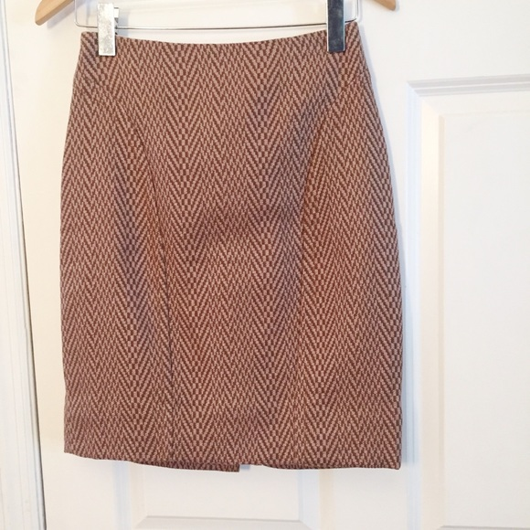 Anthropologie Dresses & Skirts - Maeve Herringbone Tan Brown Pencil Skirt Sz 2